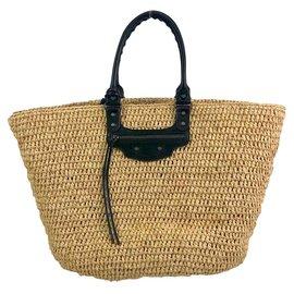 Balenciaga-Balenciaga Basket Bag in raffia and leather-Black,Other