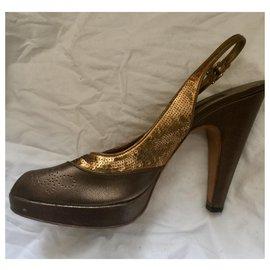 Prada-Bronze Peeptoes mit Pailletten-Golden,Bronze