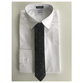 Chanel-CHANEL SHIRT MEN SIZE 37 AND HER TIE . Together nine , Never worn !-Black,White