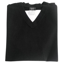 Chanel-CHANEL SWEATER MEN'S V-neck JERSEY SMALL SIZE / NEW ARTICLE-Navy blue