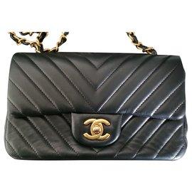Chanel-Chanel Chevron Mini Rectangular bag-Black