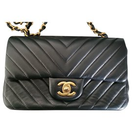 Chanel-Chanel Chevron Mini sac rectangulaire-Noir