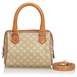 Céline-Celine Brown Macadam Satchel-Brown,Beige