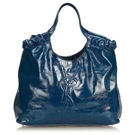 Yves Saint Laurent-YSL Blue Belle de Jour Patent Leather Tote Bag-Blue