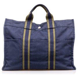 Hermès-Hermes Blue Fourre Tout MM-Brown,Blue,Khaki,Navy blue
