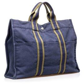 Hermès-Hermes Blue cabas MM-Marron,Bleu,Kaki,Bleu Marine