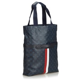 Louis Vuitton-Louis Vuitton Blue Ultra Light Paint Stripes Tote Bag-Blue,Multiple colors,Dark blue