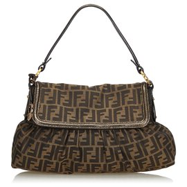 Fendi-Fendi Brown Zucca Jacquard Chef Baguette-Brown,Black