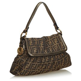 Fendi-Fendi Brown Zucca Jacquard Chef Baguette-Marron,Noir