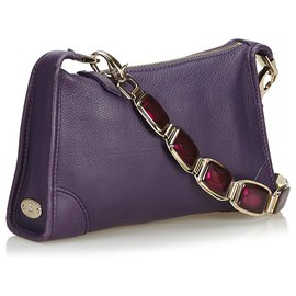 Céline-Celine Purple Leather Shoulder Bag-Purple