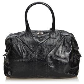 Yves Saint Laurent-YSL Black Leather Easy Boston Bag-Black