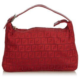 Fendi-Sac à main en toile Fendi Red Zucchino-Rouge