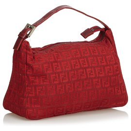 Fendi-Fendi Red Zucchino Canvas Handbag-Red