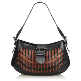 Fendi-Fendi Black Selleria Leather Shoulder Bag-Brown,Black