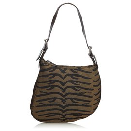 Fendi-Fendi Brown Zebra-Printed Jacquard Oyster-Brown,Black,Khaki
