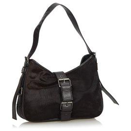 Yves Saint Laurent-YSL Brown Pony Hair Shoulder Bag-Brown,Dark brown