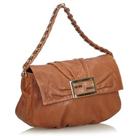 Fendi-Fendi Brown Leather Mia Shoulder Bag-Brown
