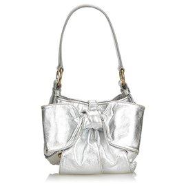 Yves Saint Laurent-YSL Silver Metallic Leather Sac Bow Handbag-Silvery