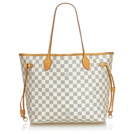 Louis Vuitton-Louis Vuitton White Damier Azur Neverfull MM-White,Blue