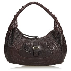 Fendi-Fendi Brown Leather Spy Hobo Bag-Brown,Dark brown