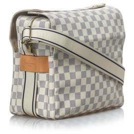Louis Vuitton-Louis Vuitton White Damier Azur Naviglio-White,Blue,Cream