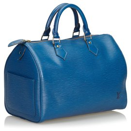 Louis Vuitton-Louis Vuitton Blue Epi Speedy 30-Blue