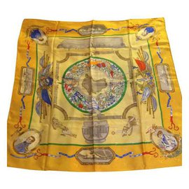 Hermès-Silk scarves-Yellow