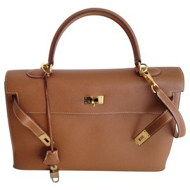 Hermès-Kelly Togo gold 35 cms-Marron clair