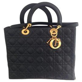 9d1d91e703 Christian Dior-Lady Dior grand modèle cannage-Noir ...
