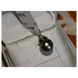 inconnue-Pearl pendant from Tahiti 8.5 mm and white gold 18 Cts-Silvery