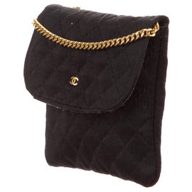 Chanel-RARE Mini vintage pouch Chanel micro jersey bag-Golden,Navy blue