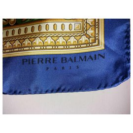 Pierre Balmain-Silk scarf-Red,Blue,Golden