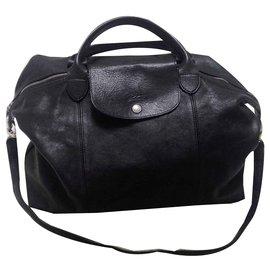 e46cbfa255 Longchamp-le pliage cuir-Noir ...