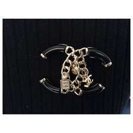 Chanel-Pins & brooches-Black,Metallic