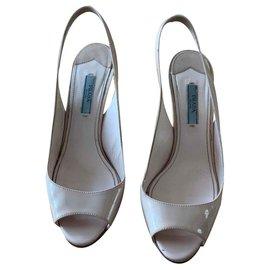 """Prada-Sandales Prada beige vernis """"open toes"""" T38-Beige"""