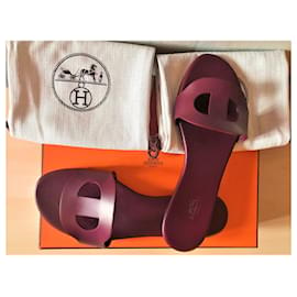 Hermès-Sandals Lisboa Bordeaux-Dark red