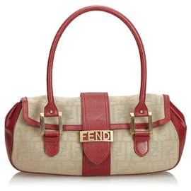 Fendi-Fendi Brown Zucca Jacquard Shoulder Bag-Brown,Red,Beige