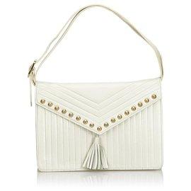 Yves Saint Laurent-YSL White Leather Shoulder Bag-White,Golden