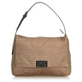 Fendi-Fendi Brown Zucchino Canvas Shoulder Bag-Brown,Light brown