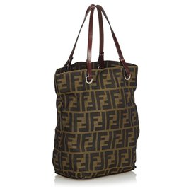 Fendi-Fendi Brown Zucca Jacquard Tote Bag-Brown,Khaki,Dark brown