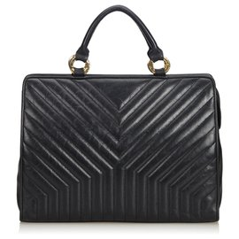 Yves Saint Laurent-YSL Black Leather V Stitch Briefcase-Black
