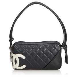 Chanel-Chanel Black Cambon Ligne Pochette-Black,White