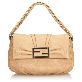 Fendi-Fendi Brown Leather Mia Shoulder Bag-Brown,Beige,Golden
