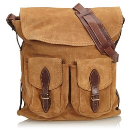 Balenciaga-Balenciaga Brown Suede Crossbody Bag-Brown,Light brown,Dark brown