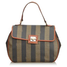 Fendi-Fendi Brown Pequin Handbag-Brown