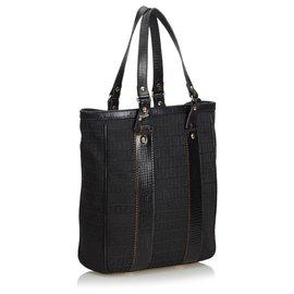 Fendi-Fendi Black Zucchino Canvas Tote Bag-Black