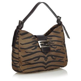 Fendi-Fendi Brown Animal Print Canvas Shoulder Bag-Brown