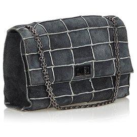 Chanel-Chanel Gris Réédition Patchwork Bag Flap Bag-Autre,Gris