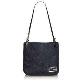 Fendi-Fendi Blue Denim Shoulder Bag-Blue,Navy blue
