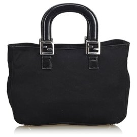 Fendi-Fendi Black Fabric Handbag-Black